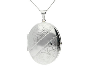 Silver Four Gallery Oval Locket
