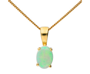 9ct Yellow Gold 0.50ct Opal Solitaire Pendant