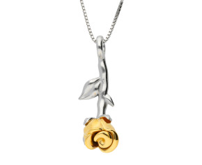 Silver & Yellow Gold Vermeil Rose Flower Pendant