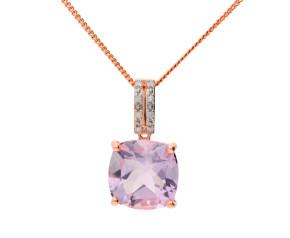 9ct Rose Gold Amethyst & Diamond Pendant