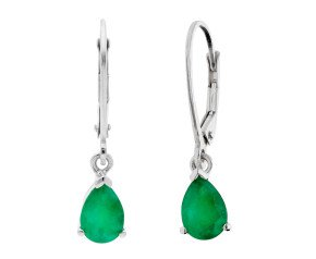 9ct White Gold 1.45cts Pear Emerald Drop Earrings