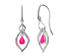 9ct White Gold Ruby & Diamond Drop Earrings