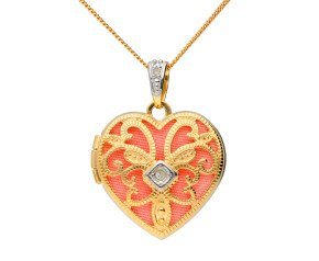 9ct Yellow Gold Intricate Heart & Diamond Locket