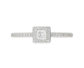 18ct White Gold Diamond Square Halo Ring
