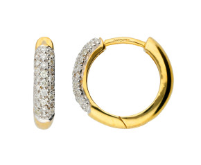 9ct Yellow Gold 0.24ct Diamond Hoop Earrings