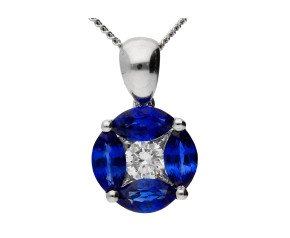 18ct White Gold 0.65ct Sapphire & 0.10ct Diamond Cluster Pendant