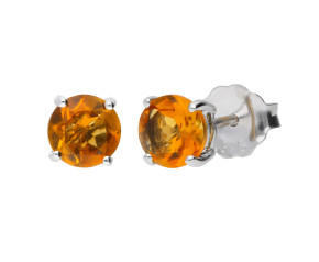 9ct White Gold 1.40ct Citrine Solitaire Stud Earrings