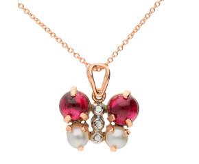 Handcrafted Italian Garnet, Pearl & Diamond Butterfly Pendant