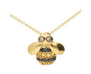 9ct Yellow Gold Black Diamond & Citrine Bee Pendant Necklace