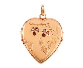 Antique 18ct Gold Ruby & Split Pearl Heart Locket
