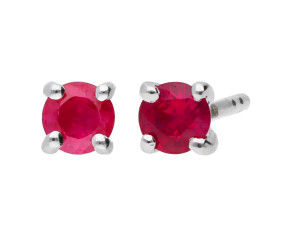 9ct White Gold 0.20ct Round Ruby Solitaire Stud Earrings