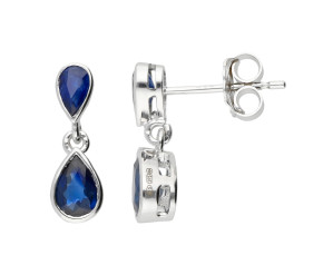 9ct White Gold Sapphire Double Pear Shape Drop Earrings