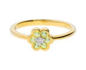 9ct Yellow Gold Peridot & Diamond Cluster Ring