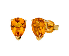 9ct Yellow Gold 1.50ct Pear Citrine Solitaire Stud Earrings