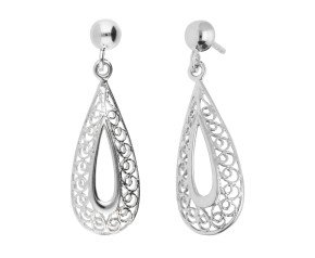 9ct White Gold Filgree Drop Earrings