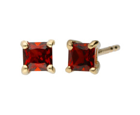 9ct Yellow Gold 3mm Garnet Solitaire Square Shape Earrings