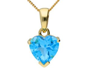 9ct Yellow Gold Heart Topaz Solitaire Pendant
