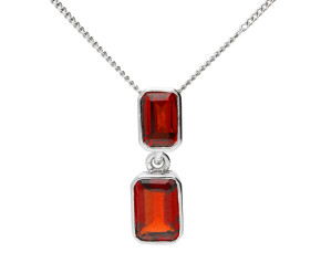 9ct White Gold 1.14ct Garnet Double Drop Pendant