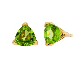 9ct Yellow Gold 2cts Pear Peridot Solitaire Stud Earrings