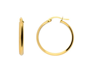 18ct Yellow Gold Knife Edge Hoop Earrings