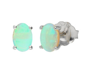 9ct White Gold 0.50ct Opal Solitaire Stud Earrings