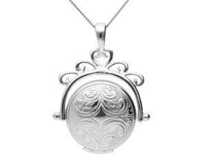 Silver Round Spinner Locket