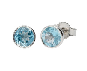 9ct White Gold 0.90ct Round Aquamarine Solitaire Stud Earrings