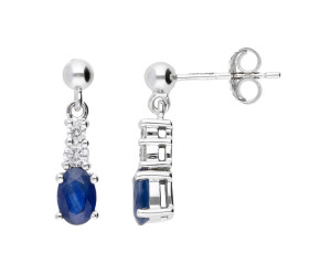 9ct White Gold 0.90ct Sapphire & Diamond Drop Earrings