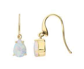 9ct Yellow Gold 7mm Opal Solitaire Pear Shaped Drop Earrings