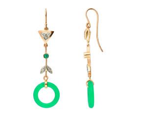 Handcrafted Italian Jadeite, Diamond & Emerald Drop Earrings