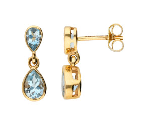 9ct Yellow Gold Double Aquamarine Drop Earrings