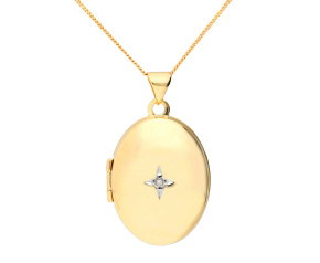9ct Yellow Gold 2.10cm Diamond Accent Oval Locket