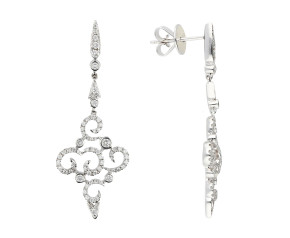 18ct White Gold 0.68ct Diamond Fancy Drop Earrings