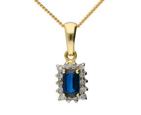 9ct Yellow Gold 0.55ct Sapphire & 0.10ct Diamond Cluster Pendant