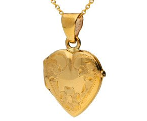 9ct Yellow Gold Forget Me Not Heart Locket