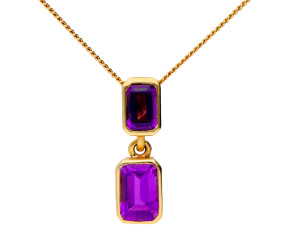 9ct Yellow Gold 0.80ct Amethyst Pendant