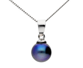 Sterling Silver 6.5mm Freshwater Black Pearl Pendant