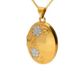 9ct Yellow & White Gold Oval Family Locket