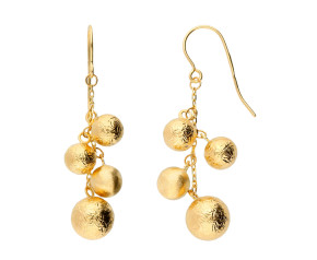 9ct Yellow Gold Fancy Ball Drop Earrings