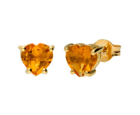 9ct Yellow Gold Citrine Heart Earrings