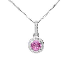18ct White Gold Pink Sapphire & Diamond Cluster Pendant