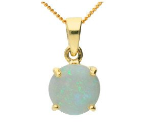 9ct Yellow Gold 0.75cts Opal Solitaire Pendant