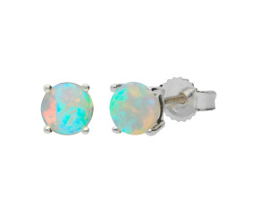 9ct White Gold 0.65ct Round Opal Solitaire Stud Earrings