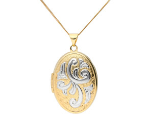 9ct Yellow & White Gold Family Oval Locket