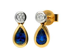 18ct Yellow Gold 0.53ct Sapphire & 0.08ct Diamond Fancy Earrings
