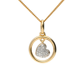 9ct Yellow Gold & Diamond Swinging Heart Pendant