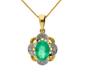 9ct Yellow Gold 0.85ct Emerald & Diamond Floral Cluster Pendant