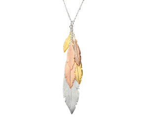 Sterling Silver Yellow Rose Gold Feather Cluster Pendant