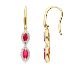 9ct Yellow Gold Ruby Diamond Drop Earrings