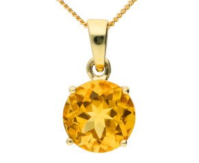 9ct Yellow Gold 1.80ct Citrine Solitaire Pendant